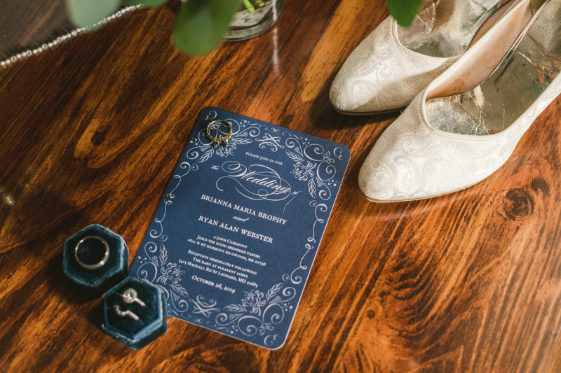 Stunning fall bridal details in St. Leonard, Maryland. Photo by Britney Clause Photography