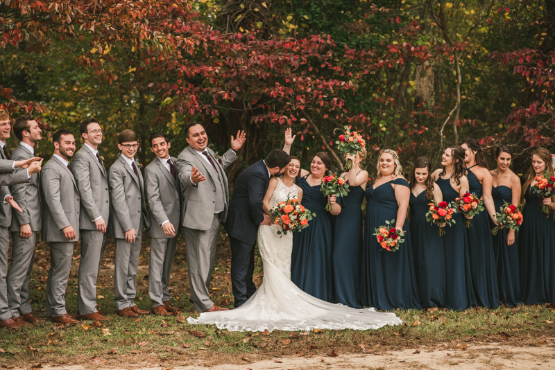 Stunning fall bridal party photos at The Barn at Pleasant Acres in Maryland. Photo by Britney Clause Photography