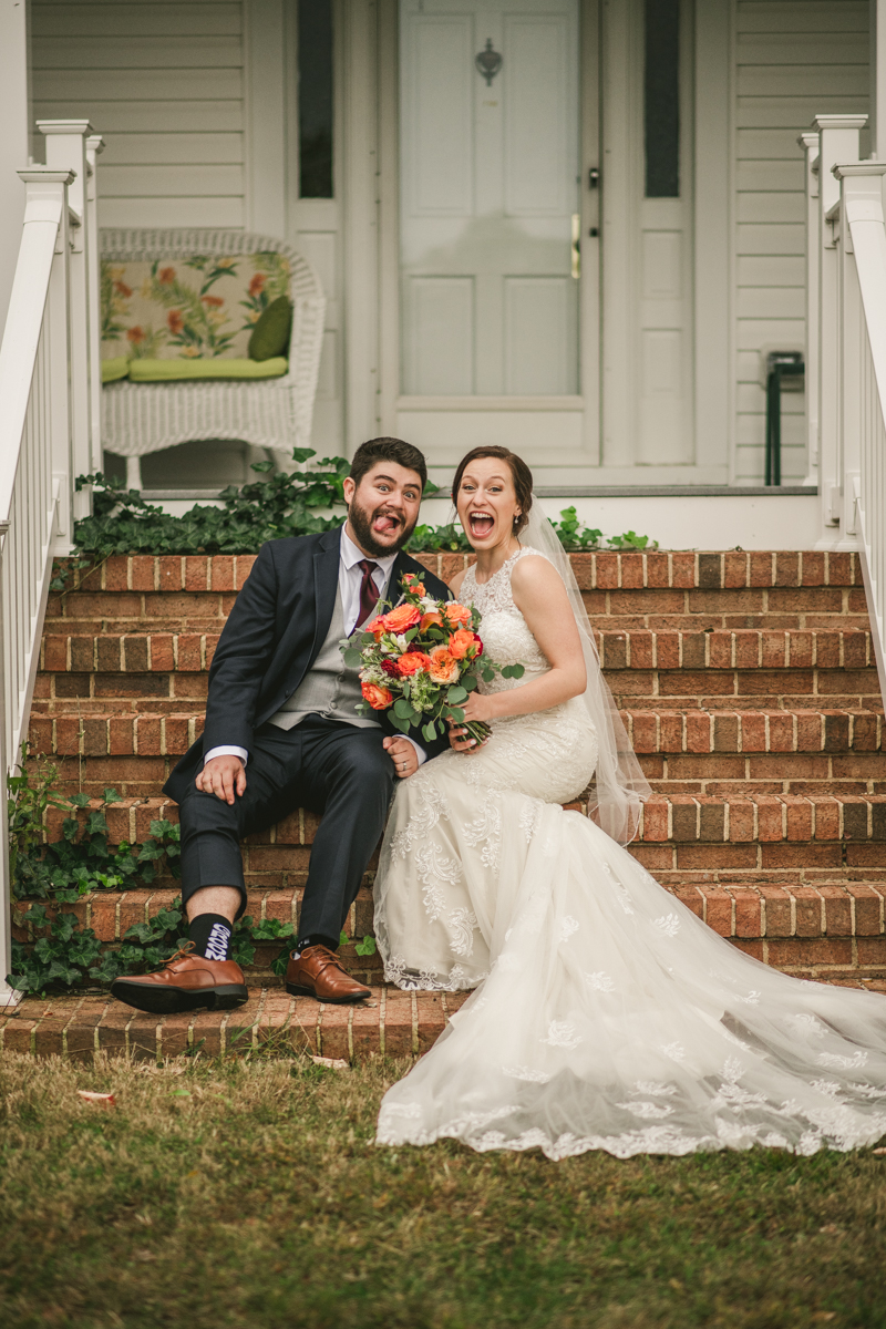 Stunning fall bride and groom just married portraits at The Barn at Pleasant Acres in Maryland. Photo by Britney Clause Photography