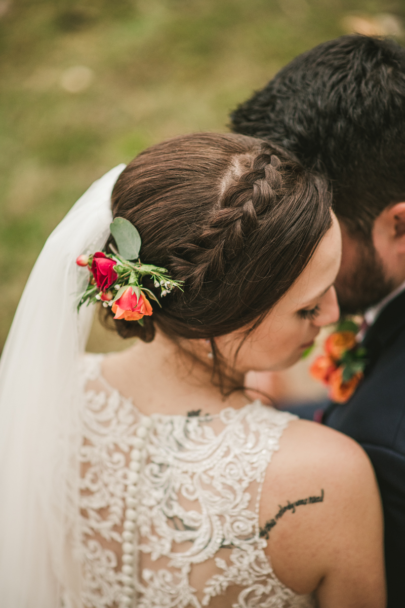 Fall bridal wedding hair by Alison Hair Company in Maryland. Photo by Britney Clause Photography