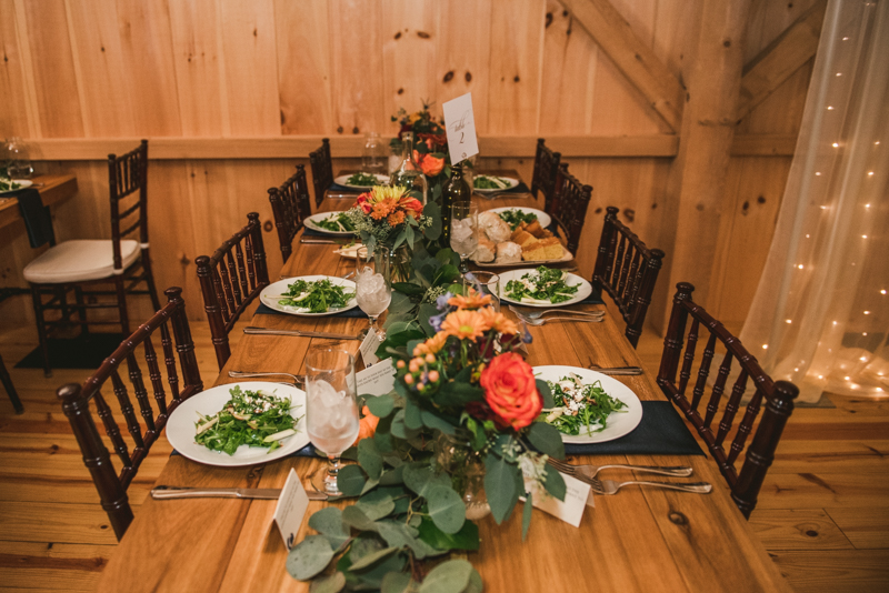 Gorgeous fall wedding reception details at The Barn at Pleasant Acres in Maryland. Photo by Britney Clause Photography