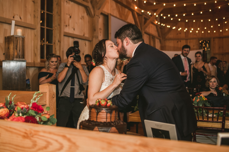 Gorgeous wedding reception at The Barn at Pleasant Acres with music by Washington Talent Agency in Maryland. Photo by Britney Clause Photography