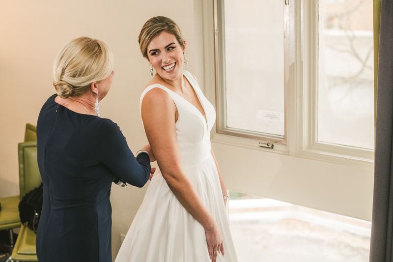 Wedding day hair and make up by Swept, LLC at Mt Washington Mill Dye House in Baltimore, Maryland. Captured by Britney Clause Photography