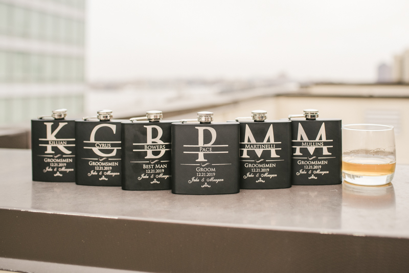Fun and unique flask groomsmen gifts at Mt Washington Mill Dye House in Baltimore, Maryland. Captured by Britney Clause Photography