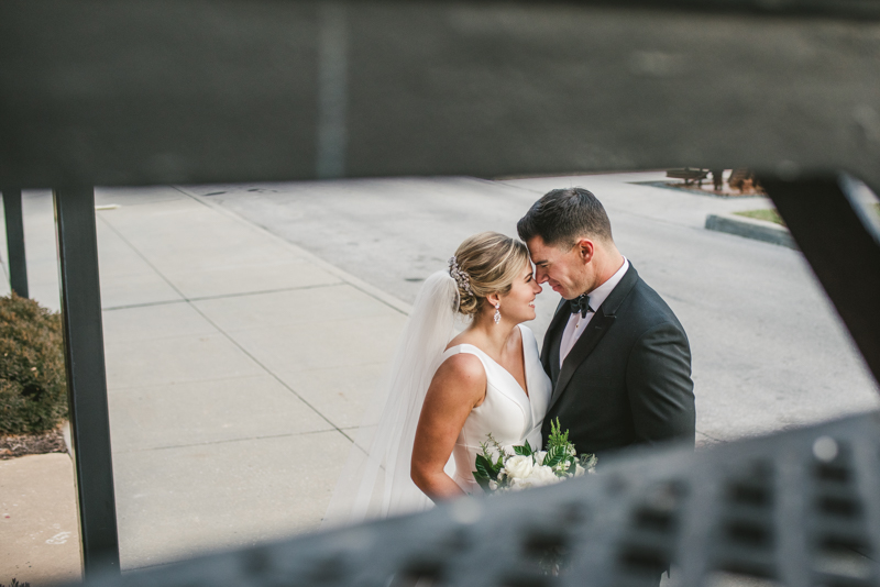 Stunning wedding bride and groom portraits at Mt Washington Mill Dye House in Baltimore, Maryland. Captured by Britney Clause Photography