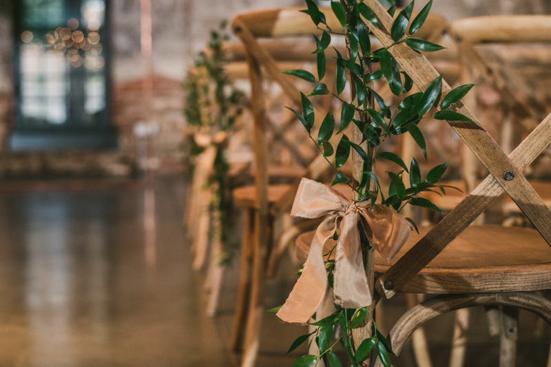 Stunning wedding florals by Violet Floral Designs at Mt Washington Mill Dye House in Baltimore, Maryland. Captured by Britney Clause Photography