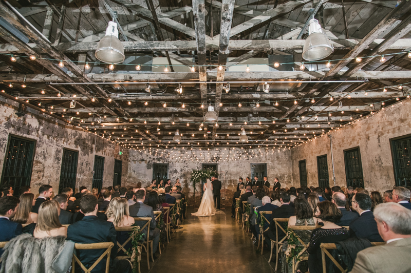 A gorgeous wedding ceremony at Mt Washington Mill Dye House in Baltimore, Maryland. Captured by Britney Clause Photography