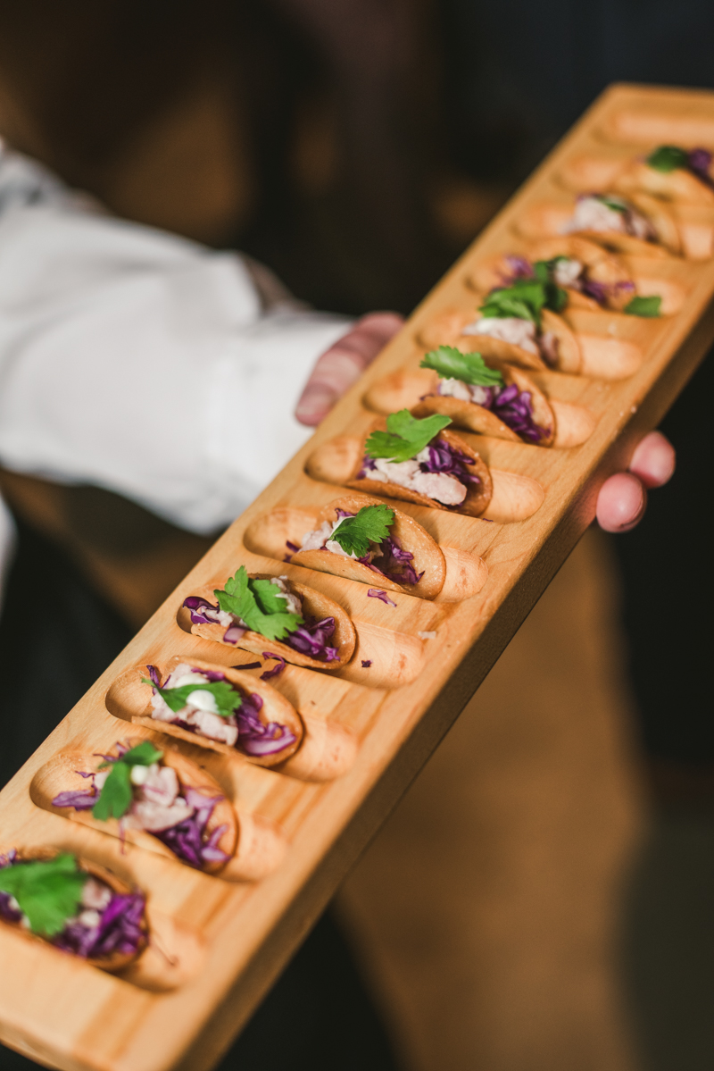 Delicious wedding bites from caterer Copper Kitchen at Mt Washington Mill Dye House in Baltimore, Maryland. Captured by Britney Clause Photography
