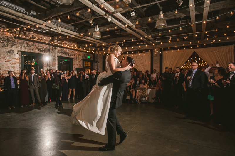 A unique wedding first dance at Mt Washington Mill Dye House in Baltimore, Maryland. Captured by Britney Clause Photography