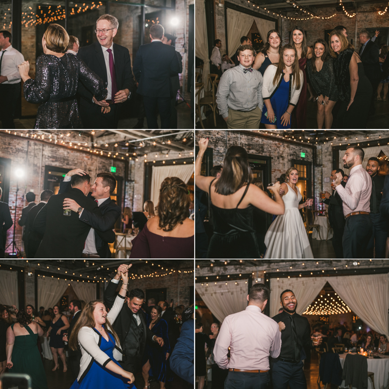 A fun and candid wedding reception at Mt Washington Mill Dye House in Baltimore, Maryland. Captured by Britney Clause Photography