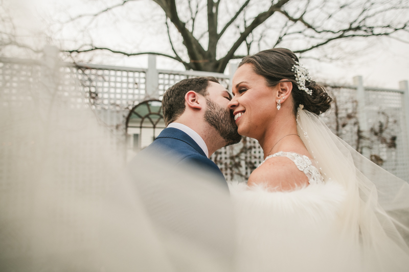 Gorgeous wedding portraits of the bride and groom at Kurtz's Beach in Pasadena, Maryland by Britney Clause Photography