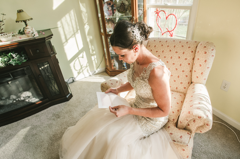A bride getting ready for her wedding in Pasadena, Maryland by Britney Clause Photography