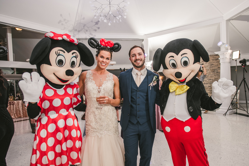 A magical wedding surprise from Mickey and Minnie Mouse at Kurtz's Beach in Pasadena, Maryland by Britney Clause Photography