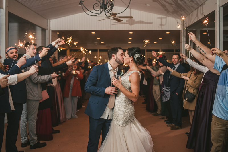 A fun and magical wedding sparkler send-off at Kurtz's Beach in Pasadena, Maryland by Britney Clause Photography