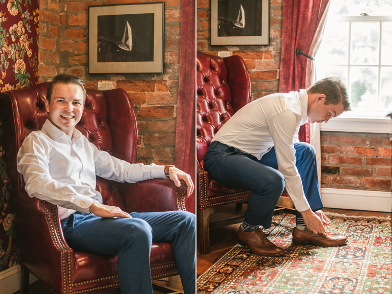 A groom getting ready for his wedding in Taneytown,, Maryland by Britney Clause Photography