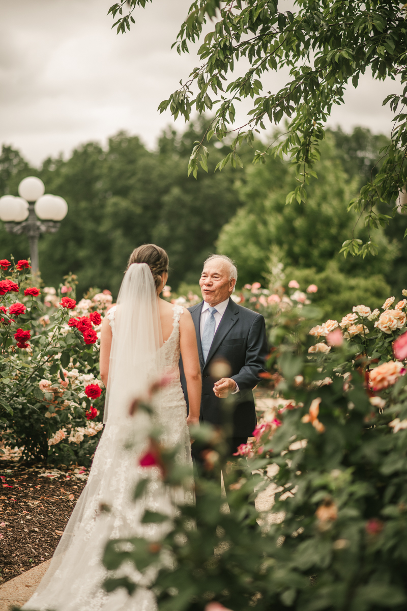 A lovely first look between dad and daughter at Antrim 1844 in Taneytown, Maryland by Britney Clause Photography