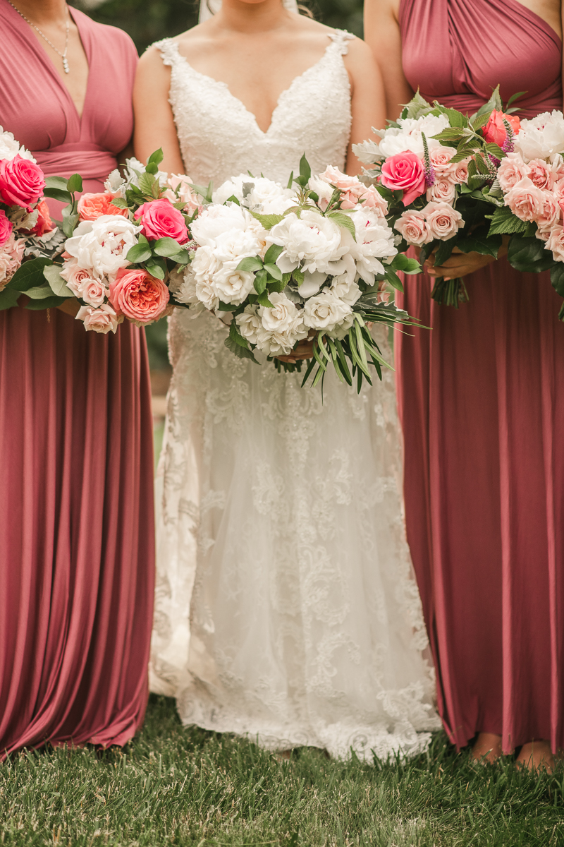 Stunning wedding day florals by Victoria Clausen Floral Events at Antrim 1844 in Taneytown, Maryland by Britney Clause Photography