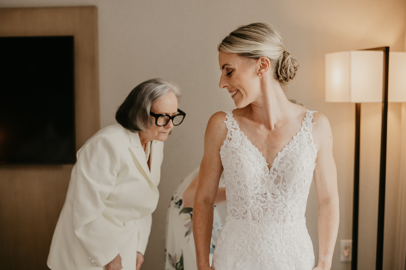 A bride getting ready for her wedding in Baltimore, Maryland by Britney Clause Photography
