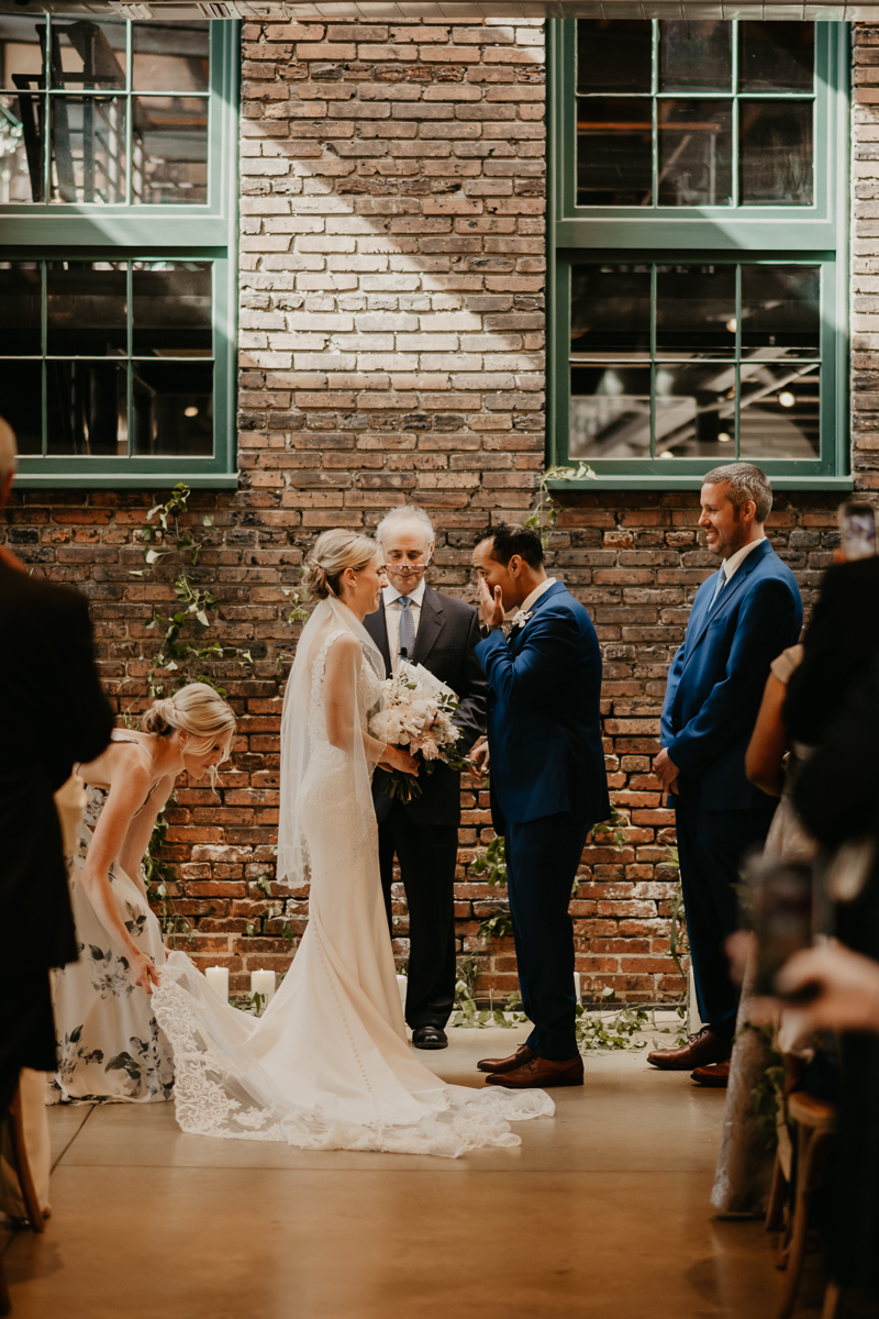A beautiful wedding ceremony at The Winslow in Baltimore, Maryland by Britney Clause Photography