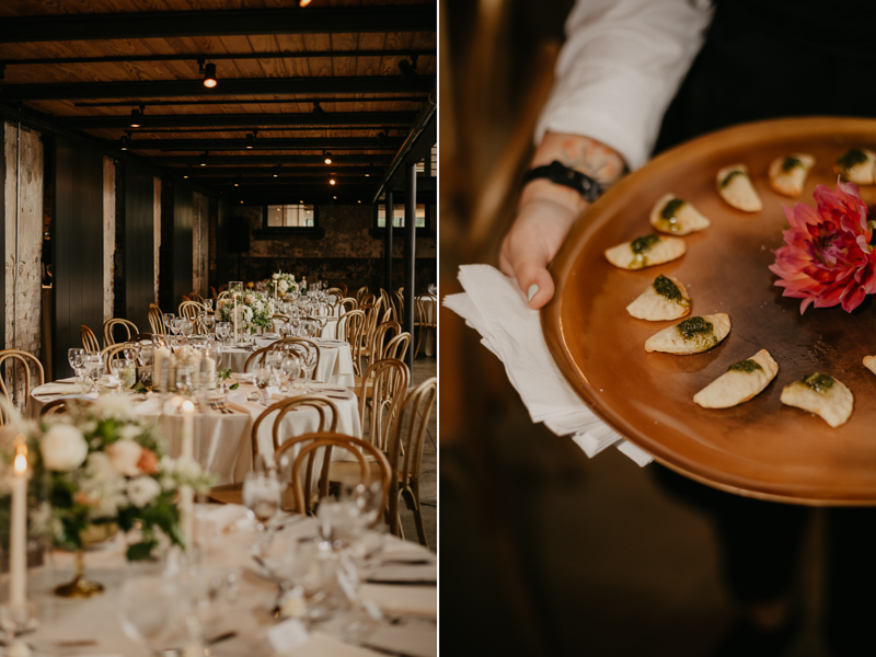 Yummy wedding food at The Winslow by Linwoods Catering in Baltimore, Maryland by Britney Clause Photography