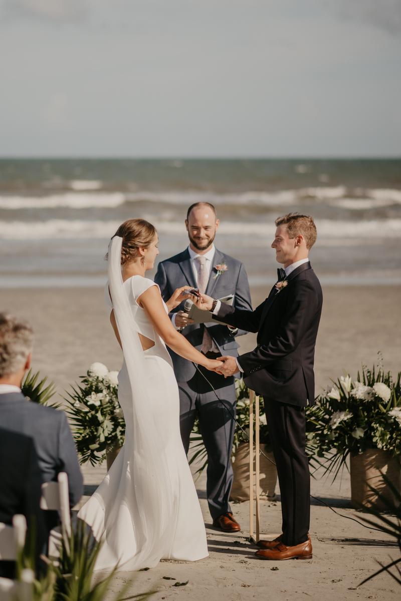 A beautiful beach wedding ceremony in Folly Beach, South Carolina by Britney Clause Photography