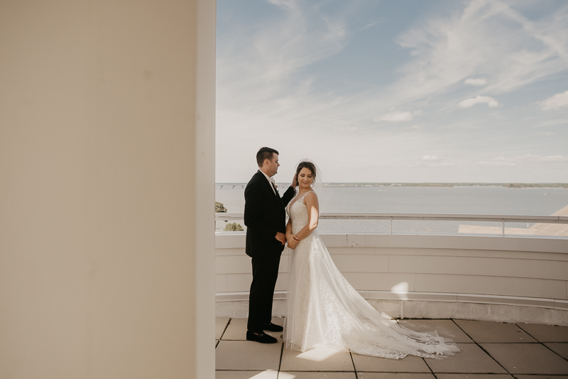 Stunning bride and groom first look in the Raven's View at The Hyatt Regency Chesapeake Bay, Maryland by Britney Clause Photography
