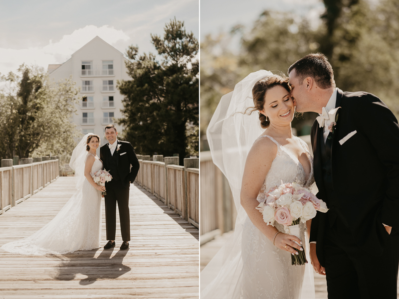Stunning bride and groom wedding portraits at The Hyatt Regency Chesapeake Bay, Maryland by Britney Clause Photography