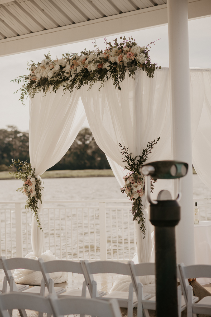 Amazing wedding ceremony detail florals by Belles Fleurs at The Hyatt Regency Chesapeake Bay, Maryland by Britney Clause Photography